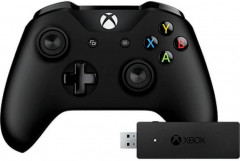 Microsoft Xbox One S Black Wireless Controller + Adapter for Windows