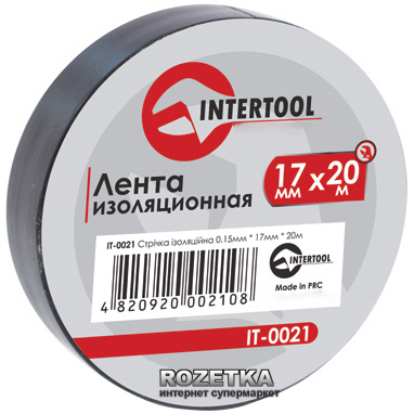 Изолента Intertool 0.15х17 мм 20 м Черная (IT-0021)
