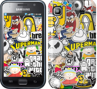 Чехол EndorPhone на Samsung Galaxy S i9000 Popular logos (4023m-77)
