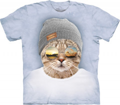 Футболка The Mountain Cool Hipster Cat XL Голубой (105948)