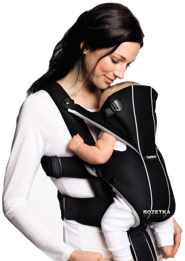 6030b001be3 Сумка-кенгуру Baby Bjorn Baby Carrier Miracle Cotton Mix Black Silver  (96065)