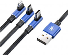 Кабель Baseus MVP 3 in 1 Mobile Game Cable USB for M+L+T 3.5A 1.2 м Blue (CAMLT-WZ03)