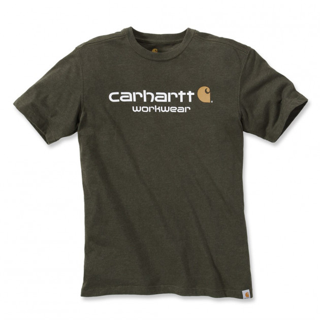 Футболка Carhartt Core Logo T-Shirt S/S - 101214 (Moss Heather, L) - изображение 1