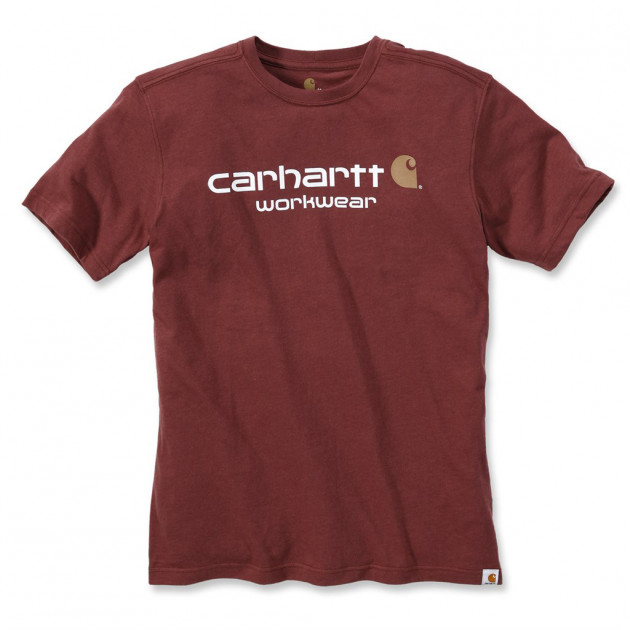Футболка Carhartt Core Logo T-Shirt S/S - 101214 (Fired Brick Heather, XL) - изображение 1