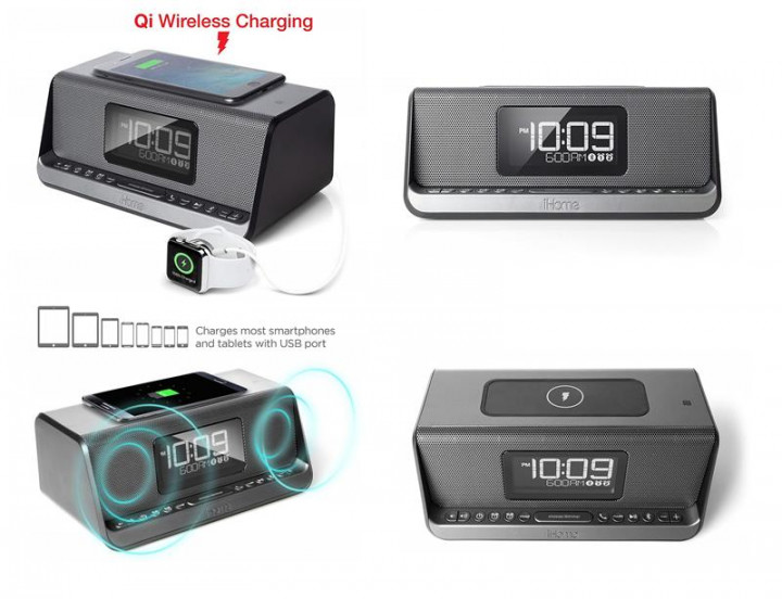 Акустическая док-станция iHome IBN350G, Qi Wireless Charging, BT, NFC, USB, Aux Mic (IBN350V2G) - изображение 1