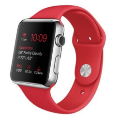Умные часы Apple Watch 42mm Stailnless Steel Case with (PRODUCT)RED Sport Band (MLLE2)