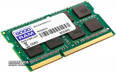 Оперативна пам'ять Goodram SODIMM DDR3L-1600 8192MB PC3-12800 (GR1600S3V64L11/8G)