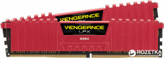 Оперативная память Corsair DDR4-2400 8192MB PC4-19200 (Kit of 2x4096) Vengeance LPX (CMK8GX4M2A2400C16R) Red