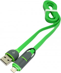 Кабель PowerPlant Quick Charge 2A 2 в 1 flat USB 2.0 AM - Lightning / microUSB 1 м Green (KD00AS1291)