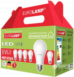 Промо-набор Eurolamp LED E27 8W 6 pcs A60 3000K (MLP-LED-A60-08273(6))