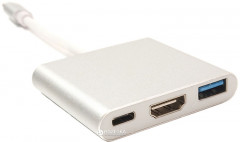 Кабель-переходник PowerPlant для MacBook 12 USB C-Type - HDMI/USB 0.15 м (KD00AS1306)