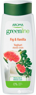 Крем-гель для душа Aroma Greenline Yoghurt Shower Cream Vanilla&Fig 400 мл (3800013536087)
