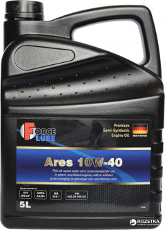 Моторное масло Force Lube Premium Semi Synthetic Engine Oil Ares 10w40 5 л (162000505)