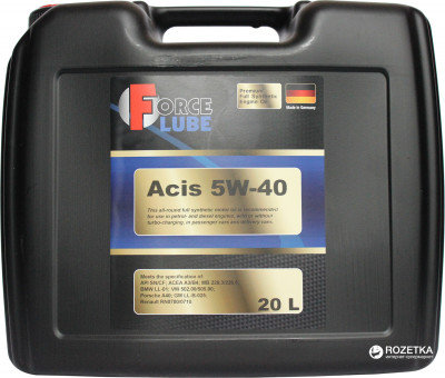 Моторное масло Force Lube Premium Full Synthetic Engine Oil Acis 5w40 20 л (162202005)