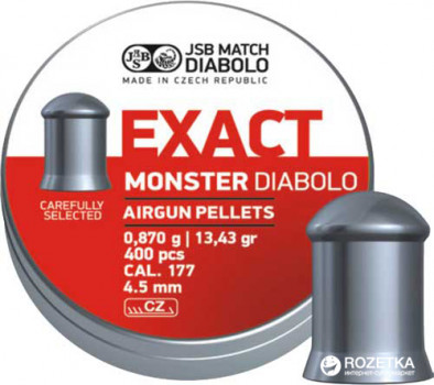 Свинцеві кулі JSB Diabolo Exact Monster 0.87 г 400 шт. (14530534)