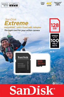 Sandisk microSDHC 128GB Extreme Action A1 Class 10 V30 UHS-I U3 (SDSQXAF-128G-GN6AA)