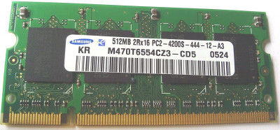 Оперативная память Samsung SAMSUNG 512MB (1*512MB) PC2-4200S 2RX16 DDR2 533MZ CL4 SODIMM (73P3843) Refurbished