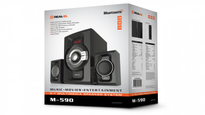Колонки 2.1 REAL-EL M-590 black (60Вт, Bluetooth, USB, SD, FM, ДУ) Refurbished