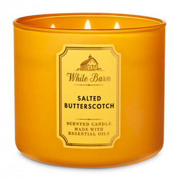 Свеча ароматизированная Bath and Body Works White Barn SALTED BUTTERSCOTCH 3-Wick Candle 411 г