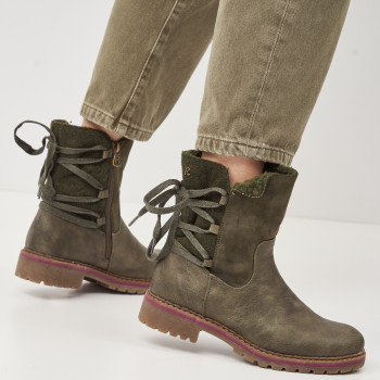 Сапоги XTI Pu Combined Ladies Ankle Boots 64810 Хаки