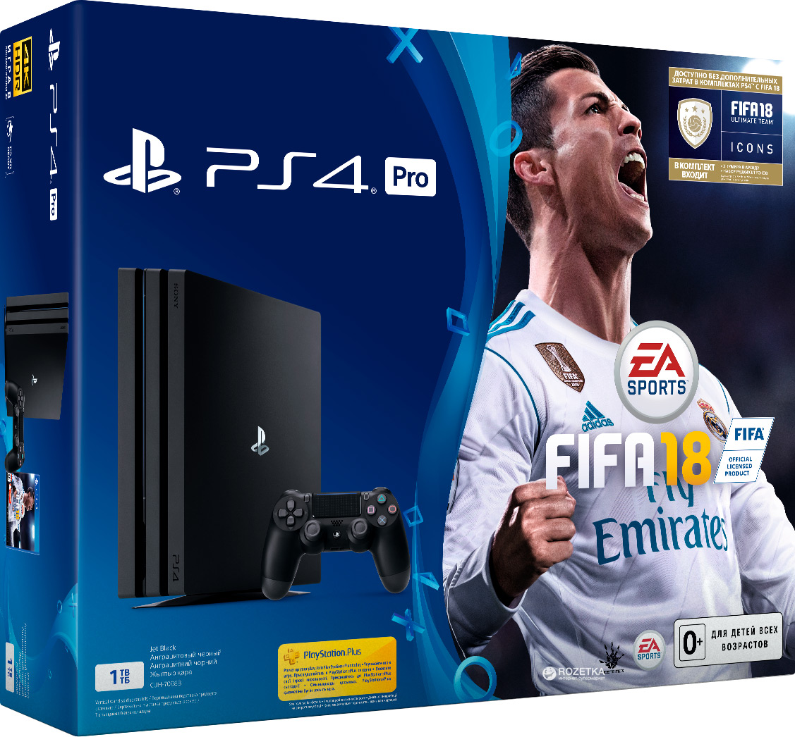 PlayStation 4 Pro 1TB Black (CUH-7008B) Bundle + игра FIFA 18 (PS4)