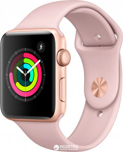 Apple Watch Series 3 GPS 42mm Gold Aluminium Case with Pink Sand Sport Band (MQL22FS/A)