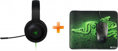 Razer Kraken Essential V2 Black (RZ04-01720100-R3R1) + Мышь Razer Abyssus USB с игровой поверхностью Goliathus Terra Speed USB Black/Green (RZ83-02020100-B3M1)
