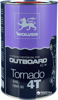Моторное масло Wolver Tornado 4T Outboard 10W-30 1 л (4260360941610)