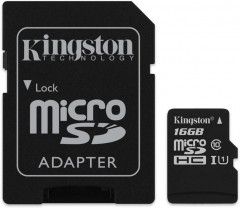 Kingston microSDHC 16GB Canvas Select Class 10 UHS-I U1 + SD-адаптер (SDCS/16GB)