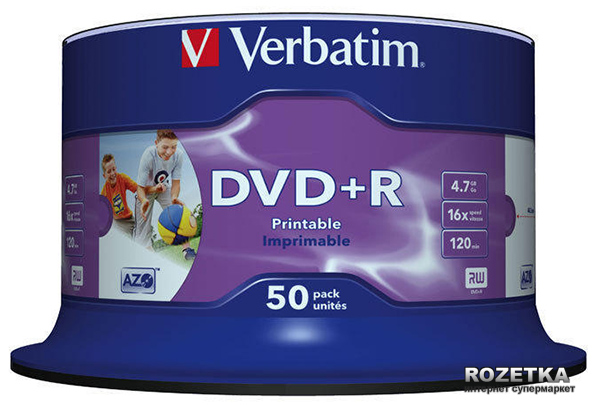 DVD+R 4.7 GB 16x Spindle 50 шт Printable