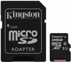 Kingston microSDXC 128GB Canvas Select Class 10 UHS-I U1 + SD-адаптер (SDCS/128GB)