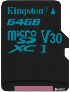 Kingston microSDXC 64GB Canvas Go! Class 10 UHS-I U3 (SDCG2/64GBSP)