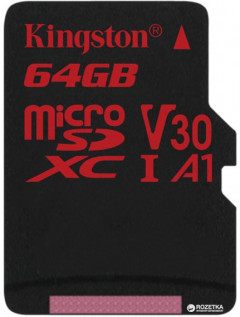 Kingston microSDXC 64GB Canvas React Class 10 UHS-I U3 V30 (SDCR/64GBSP)