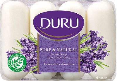Мило Duru Pure and Natural екопак Лаванда 4 х 85 г (8690506429348)