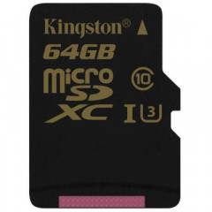 Карта памяти Kingston 64GB microSDHC class 10 UHS-I U3 (SDCG/64GBSP)