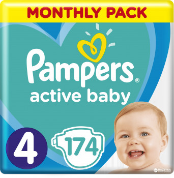 4bcc1f16b307 Акция Подгузники Pampers Active Baby Размер 4 (9-14 кг) 174 шт  (8001090910820
