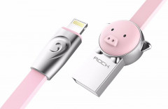 Кабель Rock Chinese Zodiac lightning cable 1M Pig-pink