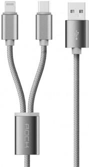 Кабель Rock 2 in 1 charging cable w/ersion B/USBA TO lightning+micro/ 1.2M Tarnish
