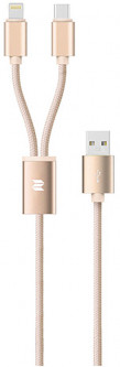 Кабель Rock 2 in 1 charging cable w/version D/USBA TO lightning+micro/ 1.2M Gold