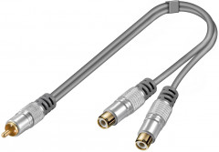 Перехідник аудіо HomeTheater RCA 1x2 M/F 0.2m Metal 2xShielded Gold Cu сірий(75.05.2652)
