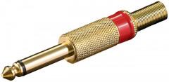 Штекер Goobay FreeEnd-Jack 6.3mm /M конектор Mono Metal Red+Cable золотистий 4 шт (75.01.1026)