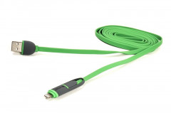 Кабель PowerPlant Quick Charge Flat USB2.0-MicroUSB-Lightning, 2м Green (CA910502)
