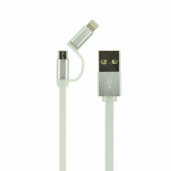 Кабель USB 2 в 1 Lightning Micro Ldnio LC81 iPhone 6 1m серебристый