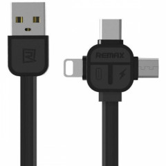 Кабель USB 3 в 1 Lightning Micro Type-C Remax OR Lesu RC-066th черный
