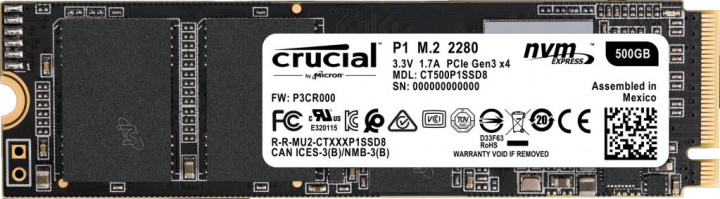 Crucial P1 NVMe 500GB M.2 PCIe 3.0 x4 (CT500P1SSD8) - изображение 1