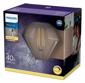 Світлодіодна лампа Philips Filament LED Classic 40W Diamond E27 2700K CL D (929001935701)