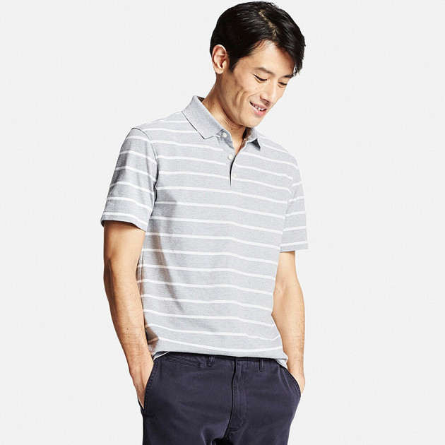 Мужская футболка поло Uniqlo Men Dry Pique Striped Polo GRAY (S) - изображение 1