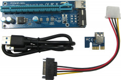 Адаптер-райзер Dynamode PCI-E x1 to 16x, 60 см USB 3.0 Cable SATA to 4Pin IDE Molex Power ver.006 (RX-riser-006)