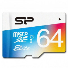 Карта памяти micro SDXC 64Gb Silicon Power UHS-I Elite Color (SP064GBSTXBU1V20)